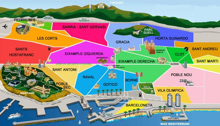 מפת השכונות של ברצלונה